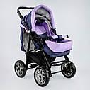 Дитяча коляска-трансформер 2в1 фіолетова Viki 86 Karina сумка дощовик люлька малюкам від народження до 3 років, фото 3