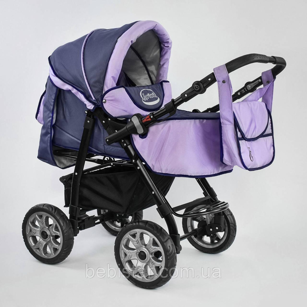 Дитяча коляска-трансформер 2в1 фіолетова Viki 86 Karina сумка дощовик люлька малюкам від народження до 3 років