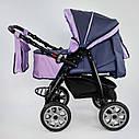 Дитяча коляска-трансформер 2в1 фіолетова Viki 86 Karina сумка дощовик люлька малюкам від народження до 3 років, фото 4