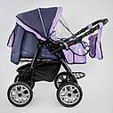 Дитяча коляска-трансформер 2в1 фіолетова Viki 86 Karina сумка дощовик люлька малюкам від народження до 3 років, фото 5