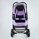 Дитяча коляска-трансформер 2в1 фіолетова Viki 86 Karina сумка дощовик люлька малюкам від народження до 3 років, фото 6