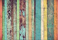 Фотообои флизелиновые на стену 366х254 см 8 листов: Цветные деревянные стены  №966, фото 1
