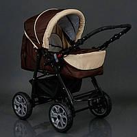 Детская коляска-трансформер шоколадная с бежевой отделкой Viki 86 Karina деткам от рождения до 3 лет