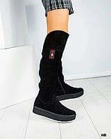 Ботфорты женские с вышивкой черные, фото 1