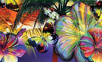 Фотообои бумажные на стену 368х254 см : Фиолетовые цветочные узоры (175P8CN), фото 1