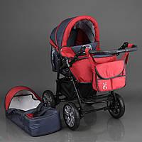 Детская коляска-трансформер темно-серая с красной отделкой Viki 86 Karina деткам от рождения