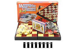 Набор магнитный 3в1 (шашки, шахматы и карты) 24,5*12,5*3,5 см. /72-2/