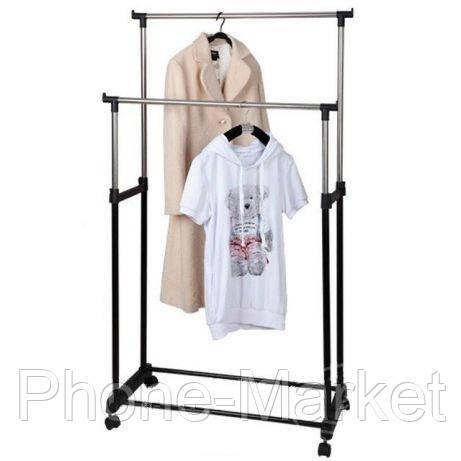 Вешалка напольная двойная телескопическая для одежды Double Pole (Дабл Пол)