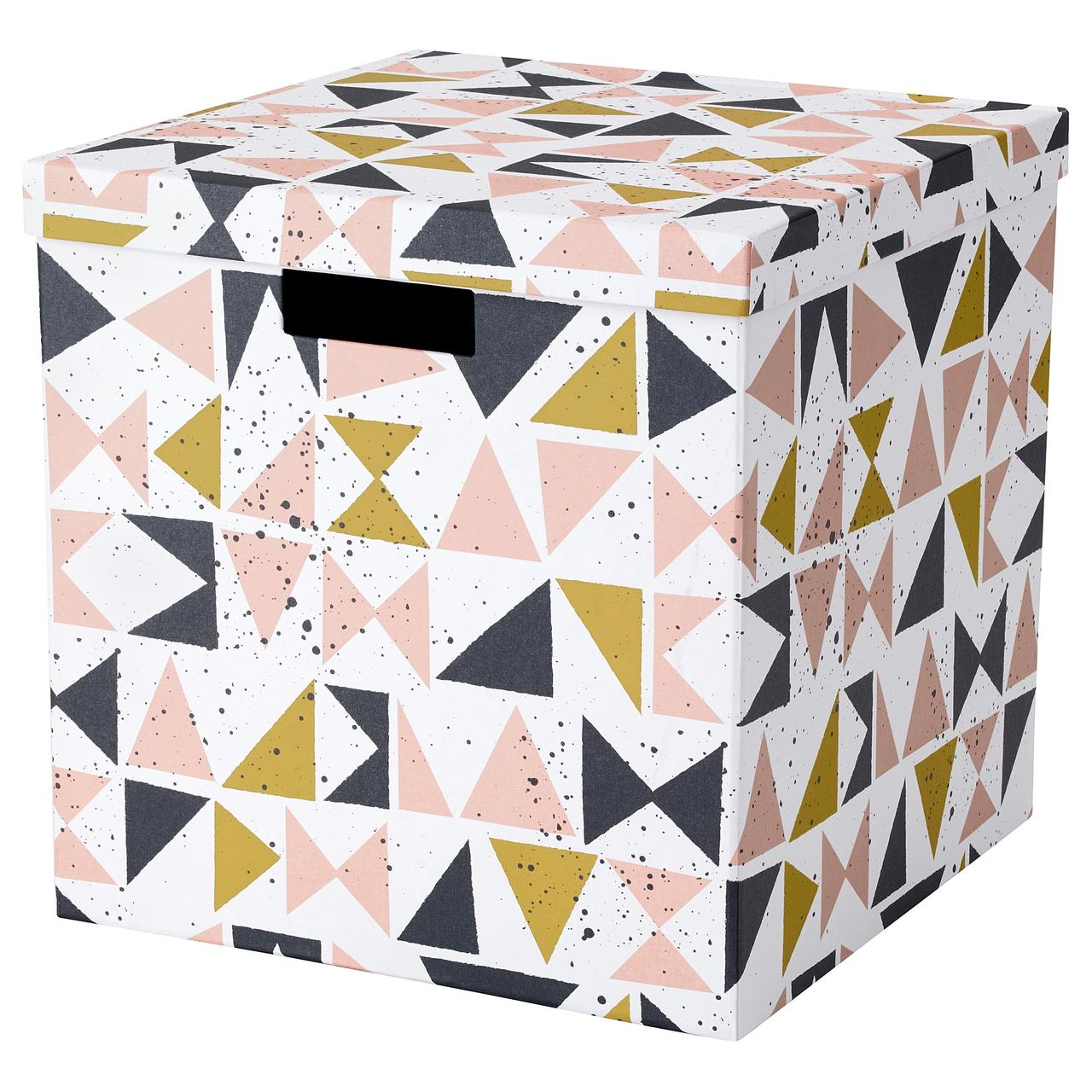 """ИКЕА """"ТЬЕНА"""" Коробка с крышкой, белый черный, розовый"""