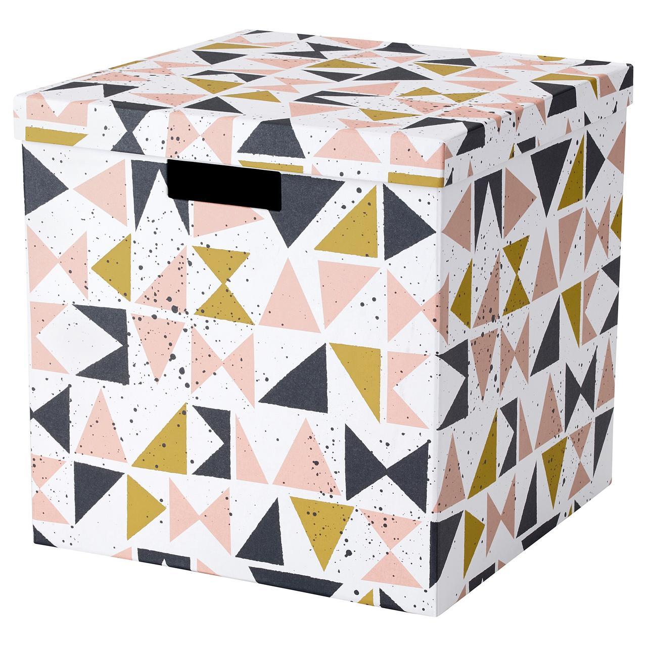 """ИКЕА """"ТЬЕНА"""" Коробка с крышкой, белый черный, розовый, фото 1"""