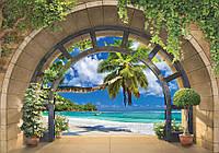 Фотообои бумажные на стену 368x254 см Вид на море через арку (11554CN), фото 1