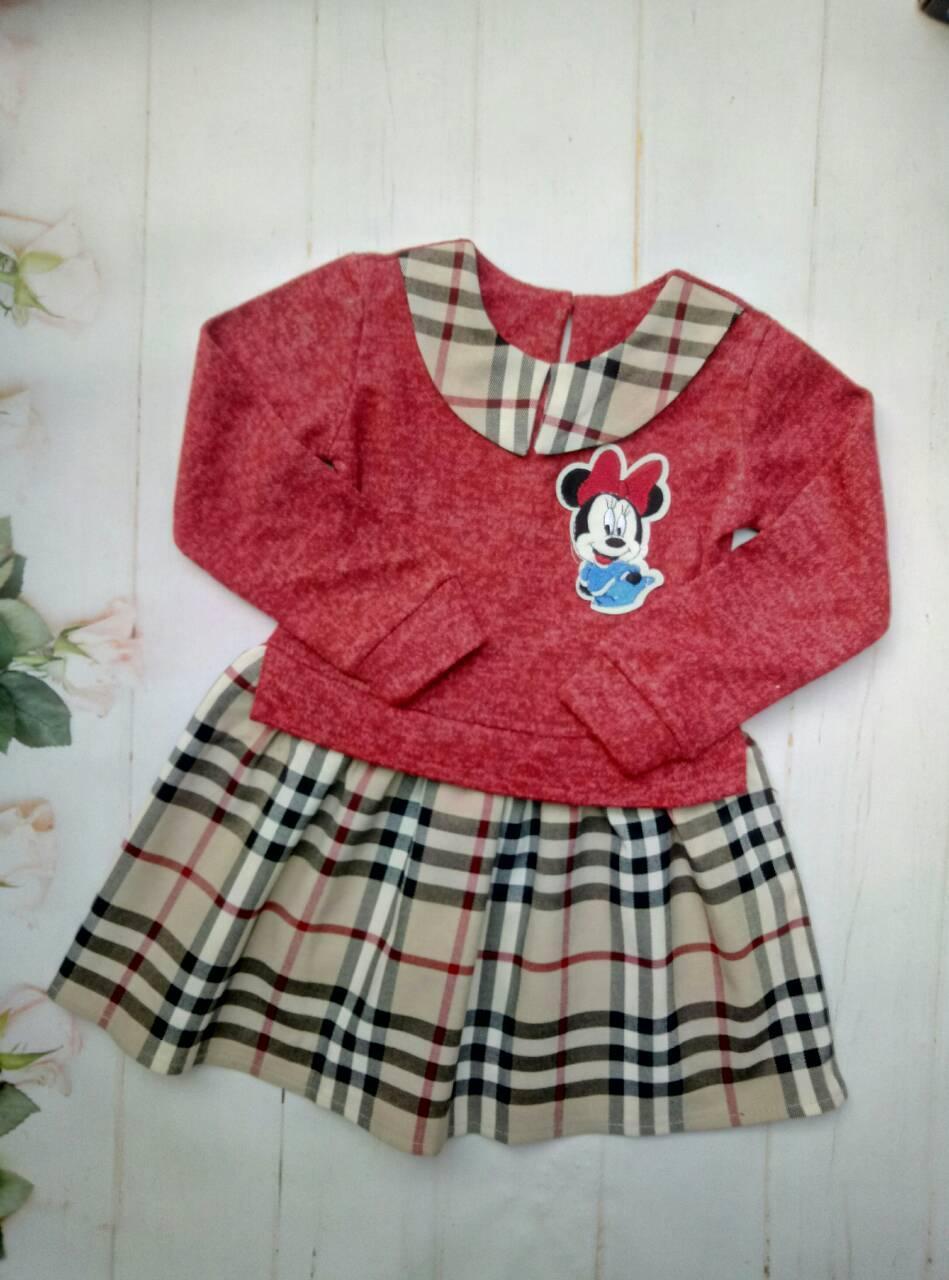 Детское платье в клетку   98-122