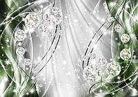 Фотообои готовые 254x184 см Зеленые волны и диаманты (10405CN), фото 1