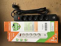 Сетевой фильтр, удлинитель на 5 розеток и 2 USB \ SP5 3m.