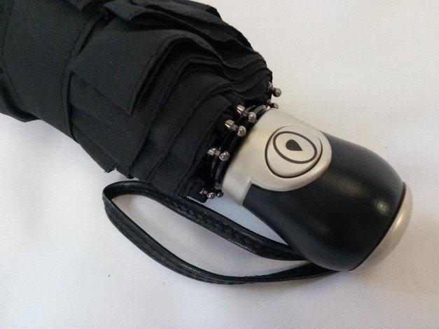 Чорний чоловічий компактний парасольку в чотири складання на 10 спиць