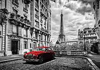 Фотообои готовые 368x254 см Париж и красное авто (11674CN)