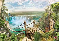 Фотообои готовые 368x254 см Подвесной мост над водопадом (10515CN), фото 1