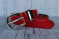 Красный лаковый ремень женский тонкий 25мм