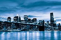 Фотообои готовые 368x254 см Синий Бруклинский мост (229.20465), фото 1
