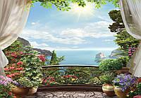 Фотообои готовые 368x254 см Цветы и море под солнцем (11426CN)
