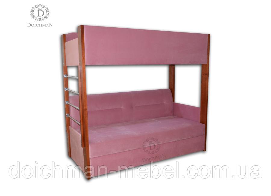 Двухярусная кровать с раскладным дополнительным спальным местом