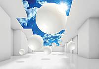 Фотообои готовые 368x254 см Белые 3D шары (11852CN), фото 1
