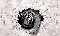 Фотообои готовые 368x254 см Тигр и кирпичная стена (10400CN), фото 1