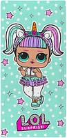 Детское банное полотенце кукла сюрприз ЛОЛ LOL, для девочки 70х140 см