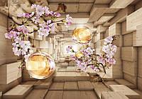 Купить фотообои цветы 3D на стену 368x254 см : Туннель с шарами и ветками вишни (3347.10217)