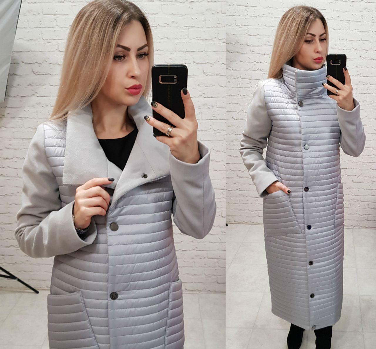Куртка - пальто, арт 138, цвет серый