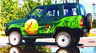 Аэрография на автомобиле принимавшем  участиу в Киевском международном автомобильном салоне.