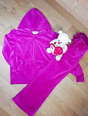 Велюровый малиновый костюм со стразами звездочка (Размер 6Т)