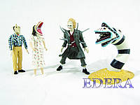 NECA Beetlejuice, the Sandworm, Stretchedface Barbara, Stretchedface Adam, Битлджус 4 фигурки, фото 1