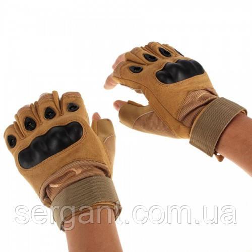 Тактические перчатки OAKLEY беспалые песочные
