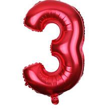 Шар из фольги красная цифра 3 (70см) - без гелия