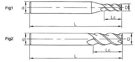 Ø1,5*5*4*50*3FB Фреза твердосплавная концевая для обработки алюминия(55HRC) , фото 2