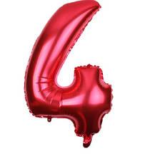 Шар из фольги красная цифра 4 (70см) - без гелия