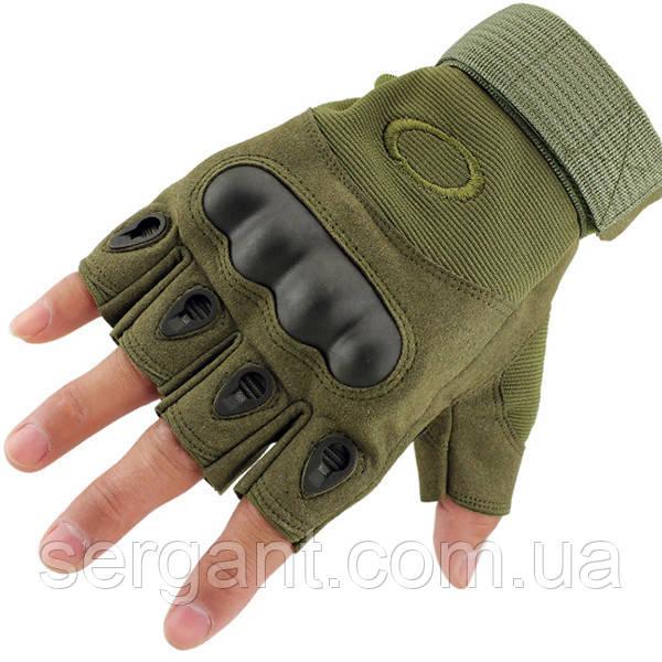 Тактические перчатки OAKLEY беспалые олива
