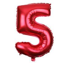 Шар из фольги красная цифра 5 (70см) - без гелия