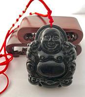 Природный Античный Черный Нефрит.Подвеска.Толстый Счастливый  Будда (Хотэй)