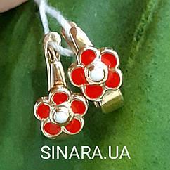 Золотые серьги для девочки с эмалью Цветочки - Детские золотые серьги с эмалью