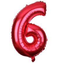 Шар из фольги красная цифра 6 (70см) - без гелия