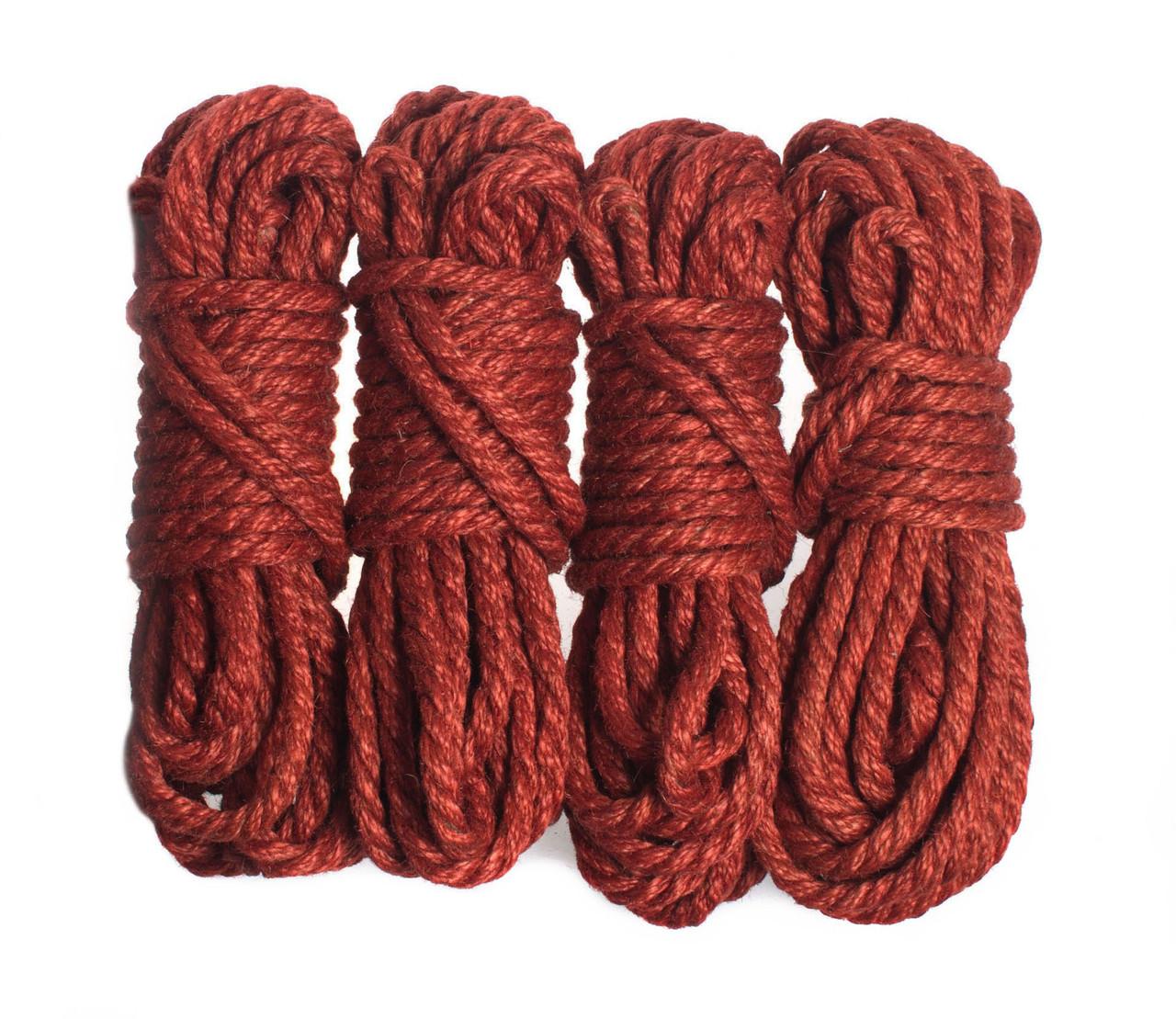 Веревка для шибари, красная 6мм/8м, джут