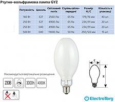 Лампа DELUX ртутно-вольфрамовая GYZ 250 Вт