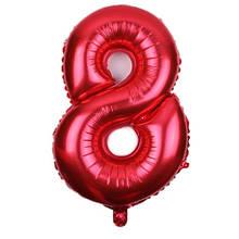 Шар из фольги красная цифра 8 (70см) - без гелия