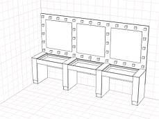 Стол для бьюти мастеров, 3 рабочие зоны
