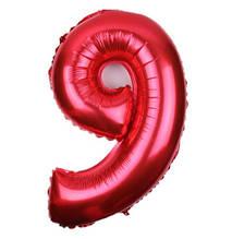Шар из фольги красная цифра 9 - размер (70см) - без гелия