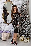 Платье женское нарядное с гипюром в расцветках 3158, фото 1