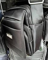 Мужская сумка Gorangd 305 из полиэстера ремень через плечо два отдела противоударная 17x20x12см Черный, фото 1