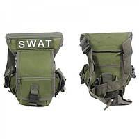 Набедренная сумка тактическая SWAT на бедро олива + видеообзор